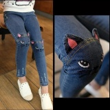 Cheap New Kids Girls Jeans Pants Spring Autumn Cute Cat Embroidery Jeans Pants Children Pants Kids Warm Jeans Leggings For Girls Intl Online