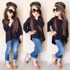 Review New Kids Girls Toddler Top T Shirt Pants Jeans Tracksuit 2Pcs Outfit Set Clothes Black Intl On China