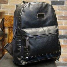 Sale New Korean Fashion Simple Rivet Shoulder Bag Men Backpack Women College Street Fashion Leisure Back Pack Bag Black Intl Oem Wholesaler