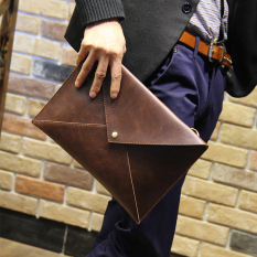 New Korean Men S Leather Handbag Fashion Handmade Metrosexual Messenger Bag Envelope Female Hand Bag Clutch A4 Package Coffee Intl Price Comparison