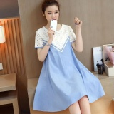 New Korean Style Short Sleeve Patchwork Cotton Maternity Dress Hmdress039 Blue Intl Cheap
