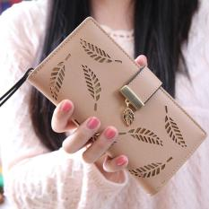 Review New Korean Women Lady Long Purse Fashion Long Wallet Clutch Card Holders Coin Purse Handbags Leaf Shape Hollow Apricot Intl Oem On China
