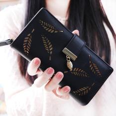 New Korean Women Lady Long Purse Fashion Long Wallet Clutch Card Holders Coin Purse Handbags Leaf Shape Hollow Black Intl Lower Price