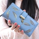 Cheap New Korean Women Lady Long Purse Fashion Long Wallet Clutch Card Holders Coin Purse Handbags Leaf Shape Hollow Blue Intl