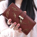 Review New Korean Women Lady Long Purse Fashion Long Wallet Clutch Card Holders Coin Purse Handbags Leaf Shape Hollow Coffee Intl Oem