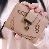 How To Buy New Korean Women Lady Short Purse Fashion Short Wallet Clutch Card Holders Coin Purse Handbags Leaf Shape Hollow Apricot Intl