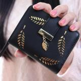 New Korean Women Lady Short Purse Fashion Short Wallet Clutch Card Holders Coin Purse Handbags Leaf Shape Hollow Black Intl China