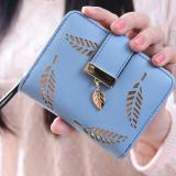 Price Comparisons New Korean Women Lady Short Purse Fashion Short Wallet Clutch Card Holders Coin Purse Handbags Leaf Shape Hollow Blue Intl