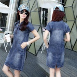 Best Offer New Lady Fashion Korean Style Short Sleeve Turn Down Collar Midi Denim Dress Plus Size Intl