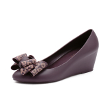 Sale Women S Frosted Leopard Print Bowknot Pointed Wedge Sandal Online China