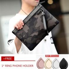 Best Offer New Men Korean Camouflage Envelope Bag Clutch Leisure Fashion Handbag Wrist Bag Business Phone Bag Wristlet Four Ipad Bag Black Intl