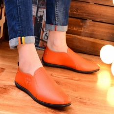 Brand New New Mens Moccasin Gommino Breathable Loafers Fashion Leather Shoes Orange Intl