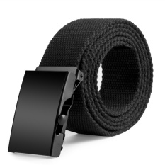 New Mens Womens Unisex Cotton Canvas Fabric Webbing Black Buckle Belt Army(Black) -