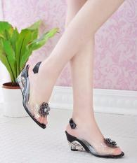 Cheaper New Mother Ladies High Heels Sandals Crystal Rhinestone Wedges Female Summer Fish Mouth Shoes Size 30 43