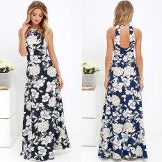 New Women Maxi Dress Halter Neck Floral Print Sleeveless Summer Beach Holiday Long Slip Dress Intl Price Comparison