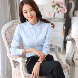 Brand New Stand Up Collar Shirt Female Korean Long Sleeved White Shirt New Autumn Slim Lotus Leaf Collar Bubble Sleeve Career Bottoming Inch Clothes Light Blue Conventional