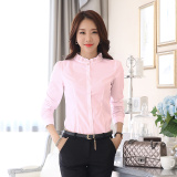 For Sale Stand Up Collar Shirt Female Korean Long Sleeved White Shirt New Autumn Slim Lotus Leaf Collar Bubble Sleeve Career Bottoming Inch Clothes Pink Conventional