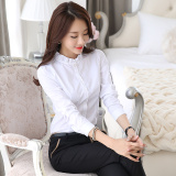 Best Price Stand Up Collar Shirt Female Korean Long Sleeved White Shirt New Autumn Slim Lotus Leaf Collar Bubble Sleeve Career Bottoming Inch Clothes White Conventional