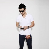New New Spring Summer Fashion Men T Shirt Slim Fit Cotton V Neck Man Short Sleeve Tops Shirt Casual T Shirt Tops Hot Male Blusas Intl