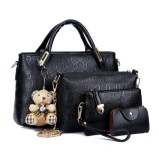 Buy Women S Korean Style Large Shoulder Handbag Bag Set Black Black