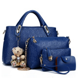 Buy Women S Korean Style Large Shoulder Handbag Bag Set Blue Blue Other Original