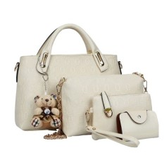 Buy Women S Korean Style Large Shoulder Handbag Bag Set Off White Color Off White Color Online China