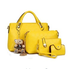 How To Buy Women S Korean Style Large Shoulder Handbag Bag Set Yellow Yellow