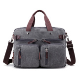 Review New Style Book Bags Men S Bag 1272 Gray Multi Function Canvas Bag China