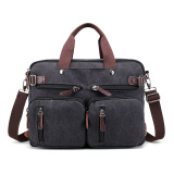 Review New Style Book Bags Men S Bag 1272 Multi Function Black Canvas Bag Yiku