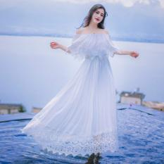 Buy New Style Horizontal Neck Shui Rong Lace Bohemian Dress Skirt Chiffon Dress Online China