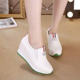 Best Reviews Of Women S Korean Style High Slipsole Casual Shoes White Black White White