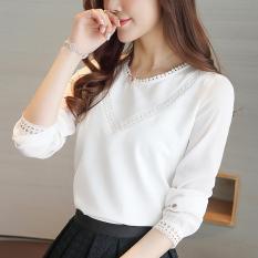 Retail Loose New Style Versitile Fashion Top Long Sleeved Chiffon Shirt White