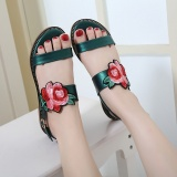 Buy New Style National Style Sandals Women Flat Embroidered Flowers Word Buckle Intl Oem Cheap