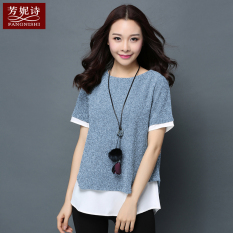 Price Women S Large Size Loose Fake Two Pieces Chiffon Short Sleeves Midi T Shirt Blue And White Blue And White China