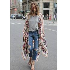 New Women Chiffon Kimono Cardigan Floral Print Asymmetric Boho Loose Outerwear Beachwear Bikini Cover Up White