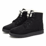 Where To Shop For New Women Faux Fur Lining Round Toe Winter Warm Flat Ankle Snow Boot Ski Shoes Black Intl