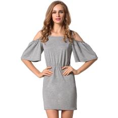 New Women O Neck Short Sleeve Solid Off Shoulder Slim Mini Dress Summer Beach Lower Price