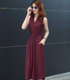 Sale New Women S Plus Sized Mid Length Summer Bohemian Dress Sleeveless Chiffon Dress Wine Red Chiffon Long China