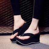 Where Can You Buy New Women S Platform Flip Flops Wedges Sandals High Heels Skidproof Beach Shoes Black Intl