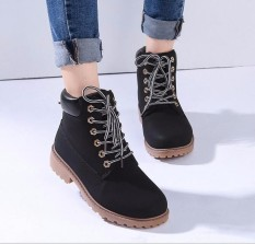 New Work Boots Womens Winter Leather Boot Lace Up Outdoor Waterproof Snow Boot Black -Intl By Five Star Store.