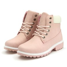 New Work Boots Womens Winter Leather Boot Lace Up Outdoor Waterproof Snow Boot Pink -Intl By Five Star Store.