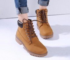 New Work Boots Womens Winter Leather Boot Lace Up Outdoor Waterproof Snow Boot Yellow -Intl By Five Star Store.