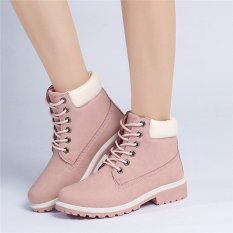 Low Price New Work Boots Women S Winter Leather Boot Lace Up Outdoor Waterproof Snow Boot Intl