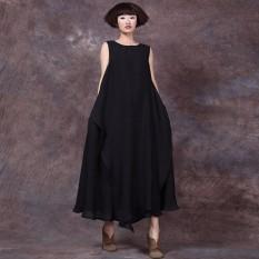 Top 10 New Zanzanzea Fashion 2016 Summer Style Casual Cotton Linen Long Maxi Dress Sleeveless O Neck Dresses Loose Vestidos Plus Size S 5Xl Intl