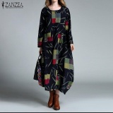 Who Sells The Cheapest New Zanzea Linen Dress Autumn Winter Women Maxi Long Dress Loose Baggy O Neck Long Sleeve Cotton Kaftan Vestidos Plus Size Navy Intl Online