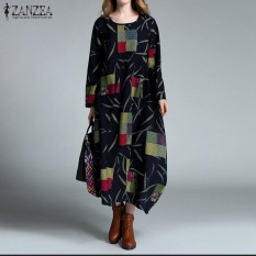 Recent New Zanzea Linen Dress Autumn Winter Women Maxi Long Dress Loose Baggy O Neck Long Sleeve Cotton Kaftan Vestidos Plus Size Navy Intl