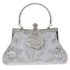 niceEshop Women Antique Beaded Rose Evening Purse Clutch Handbag,Silver