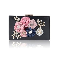 niceEshop Women Clutch Evening Bag (with Detachable 120cm Chain Strap) Pearl Flower PU Leather