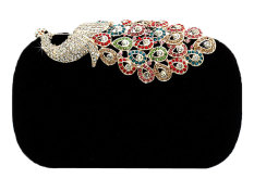 Niceeshop Women Rhinestone Peacock Velvet Party Clutch Evening Bags,black By Nicee Shop.