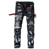 Best Deal Night Club Jeans Men Street Fashion Embroidery Denim Dj Designer Jean For Men Intl